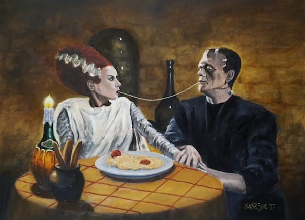 """Bride of Frankenstein and Frankenstein eating spaghetti, a la """"Lady and the Tramp"""""""