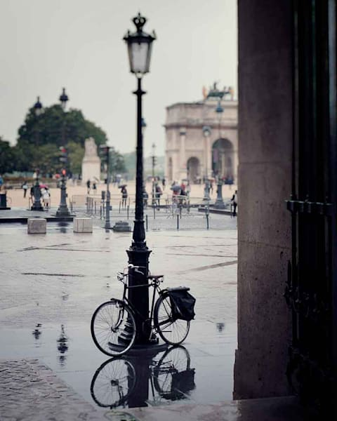 A bicycle on a spring day at the Louvre photograph by Ivy Ho for sale as Fine Art