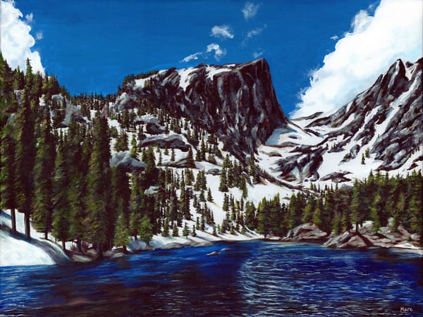 Original acrylic painting by artist Mary Anne Hjelmfelt titled Dream Lake.