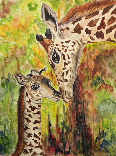 """Mother Giraffe and baby  Print"" – Fine Art Prints on Canvas, Paper, Metal & More by Daniella Toscanini""."