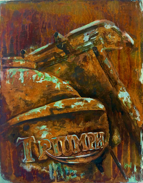 Old rusty Triumph motorcycle painting