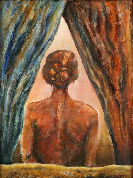 Peering Into The Murky World is an acrylic painting. Art by Susan Kraft