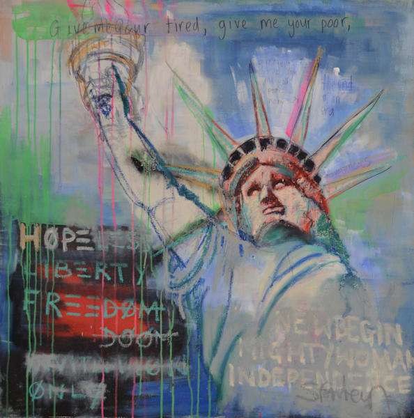 Statue of Liberty Original Street Art Painting by Steph Fonteyn