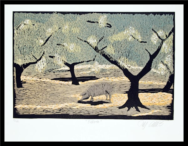 pigs grazing in Spanish corkoak forests, a linocut reduction, by Printmaker Mariann Johansen-Ellis, art, painting