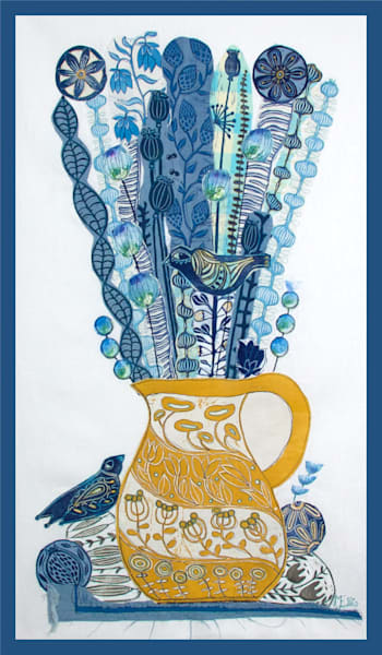 handprinted fabrics in blue and yellow, flowers and a jug, happiness and summerfeeling in this linocut collage by printmaker Mariann Johansen-Ellis, art, paintings