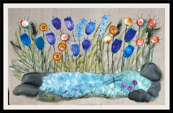 garden pond with wildflowers feature in this fiber arts painting, by Mariann Johansen-Ellis, art, paintings