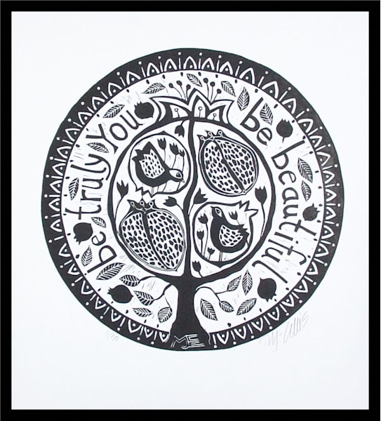 round linocut with pomegranate tree in black and white by printmaker Mariann Johansen-Ellis, art, paintings