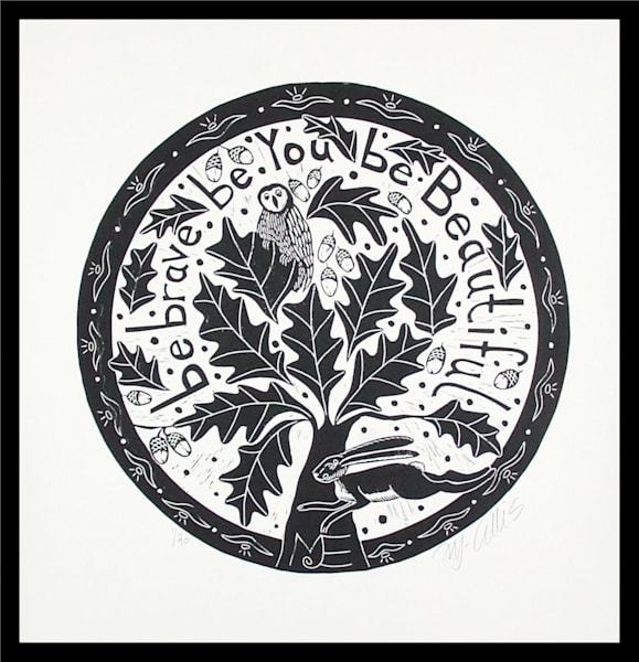 black and white linocut, circle shaped, featuring an okatree and typography by printmaker Mariann Johansen-Ellis, art, paintings