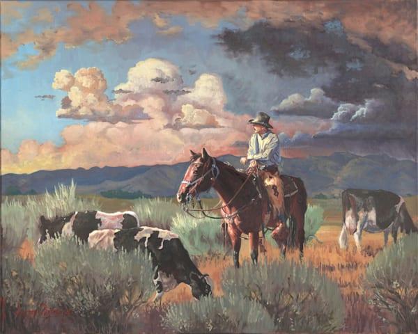 Cowboy herding holstein cows prints