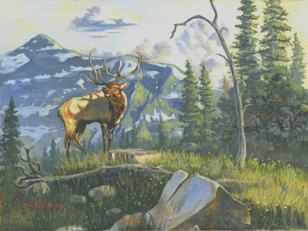 A bold elk Issuing the Call for action prints