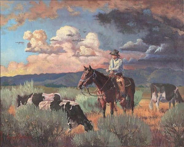 Cowboy herding holstein cows original