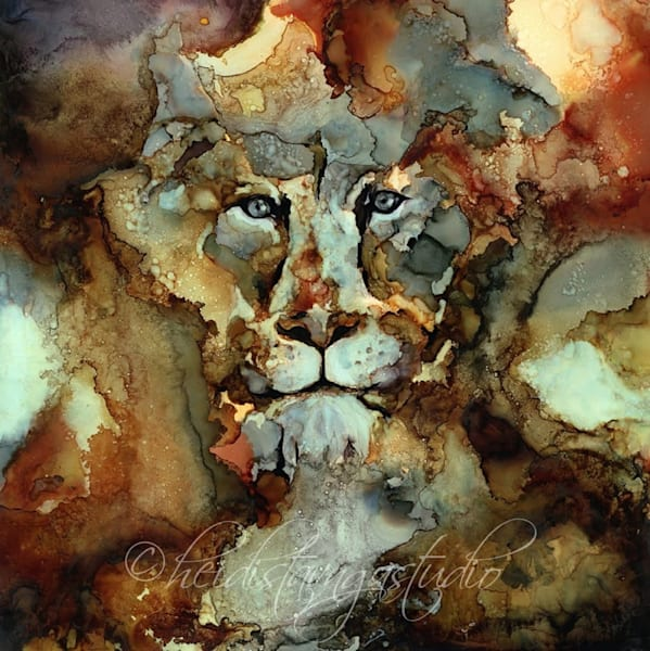 limited edition print - lioness - heidi stavinga alcohol ink art painting