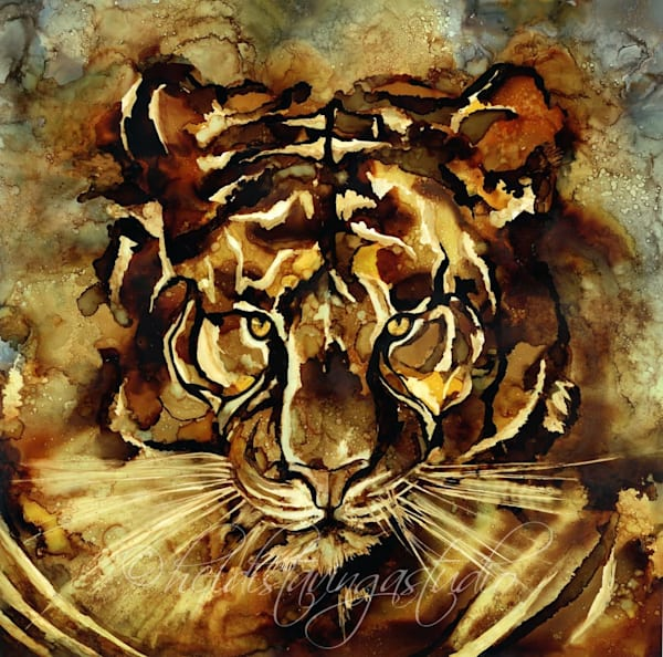 untamed tiger painting, alcohol ink art limited edition print by heidi stavinga