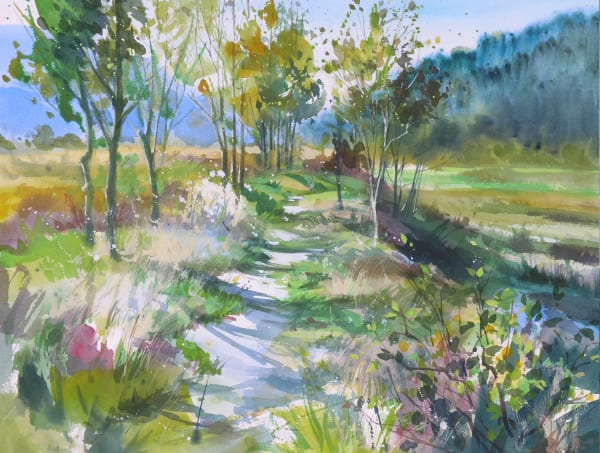 watercolour painting of Chelem Trail, Squamish estuary meadows