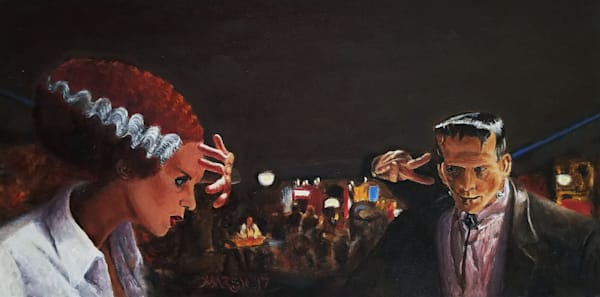 Famous or iconic scenes with monsters--or other after dark characters--art paintings