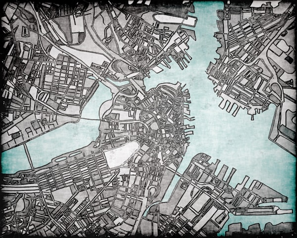 Retro Modern Map Art of Boston Neighborhoods and Suburbs | Digitally merged illustrations and paintings | Offered for sale as Fine Art Prints on Canvas, Paper, Metal & More