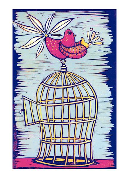 birdcage with the door open by printmaker Mariann Johansen-Ellis in pink and blue tones, art, painting, linocut,