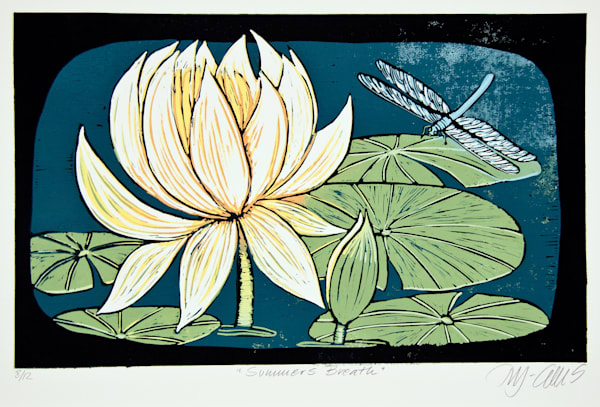 waterlily and dragonfly in a pond, by printmaker Mariann Johansen-Ellis, a romantic original linocut waterlilies are the most beautiful blooms, art, paintings
