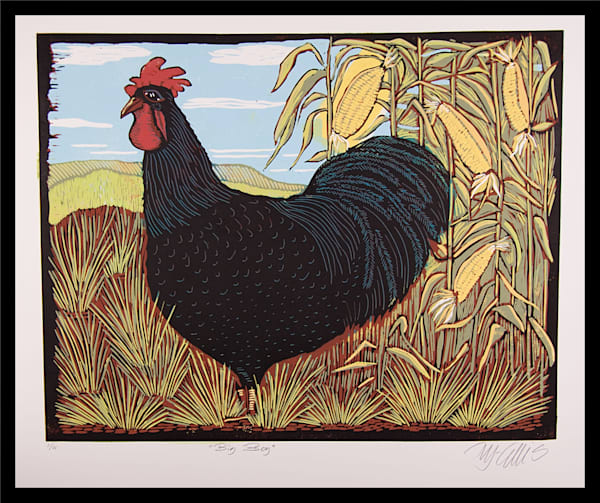 a proud black rooster, king of the harem, emperor of the hen house, a linocut reduction by printmaker Mariann Johansen-Ellis featuring a black cockerel in a corn field, original art, art, paintings