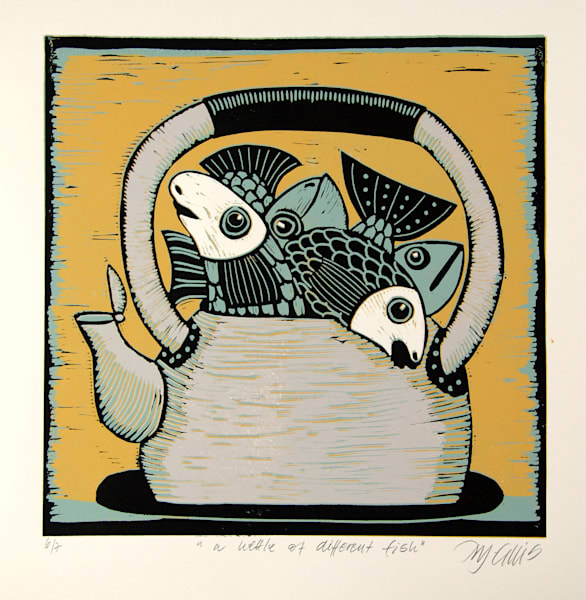 a different kettle of fish, is an old saying, I say a kettle of different fish as we all have our own personality, a linocut reduction by printmaker Mariann Johansen-Ellis, art, paintings