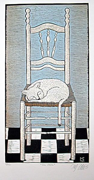 a white cat sleeping on a rush chair, an original linocut reduction by Mariann Johansen-Ellis, art for cat lovers, art, paintings