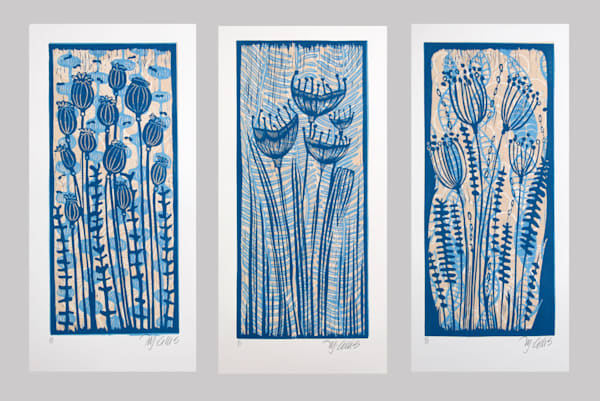 three prints, a set of prints with poppies, pods and flower seeds in denim blue on blue, hand printed linocuts by printmaker Mariann Johansen-Ellis, art, paintings, flower prints, floral prints