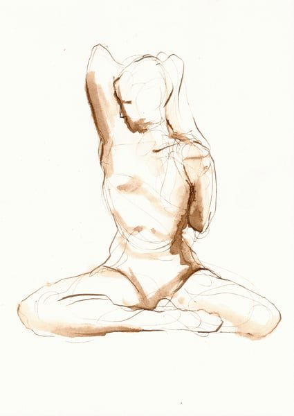 Seated Yoga Stretch Line Drawing