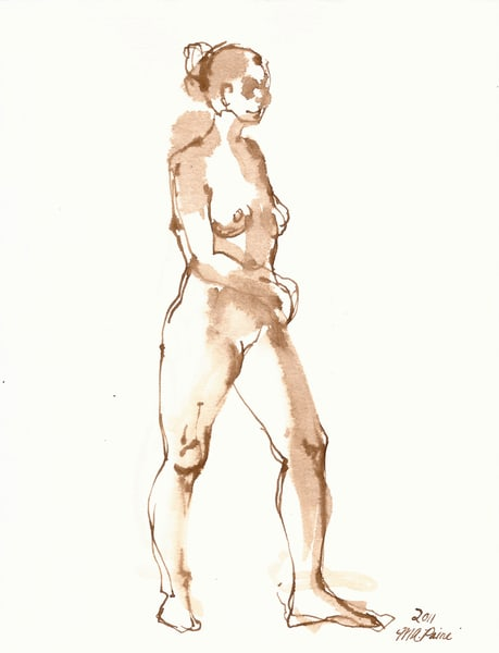 Pen and Ink Female Figure by Michelle Arnold Paine