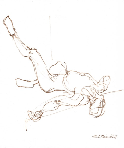 Upside Nude Gesture Drawing Prints