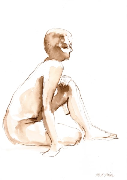 Female Figure Ink Wash Drawing by Michelle Arnold Paine