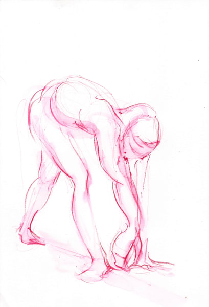 Pink Watercolor Dance Figure Prints