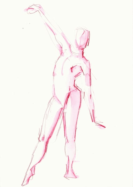 Pink Gesture Drawing Giclee Prints
