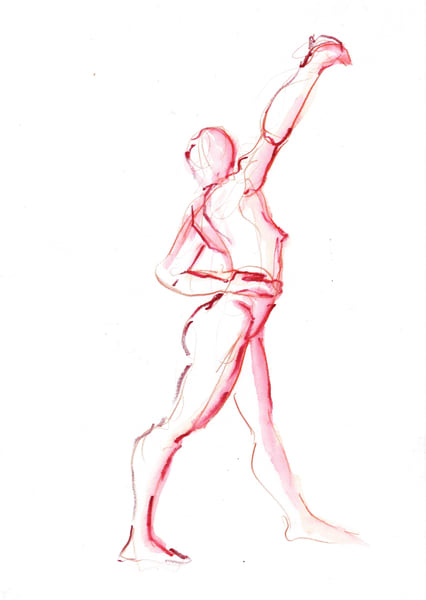 Red Dancing Figure Watercolor by Michelle Arnold Paine
