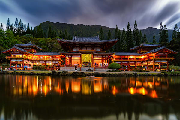 Scenic Hawaii Photography | Temple at Night by Peter Tang