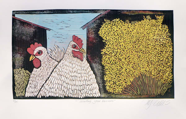 2 white hens in the country side, in this linocut by printmaker Mariann Johansen-Ellis , barns and blue sky frames the original print, art, paintings