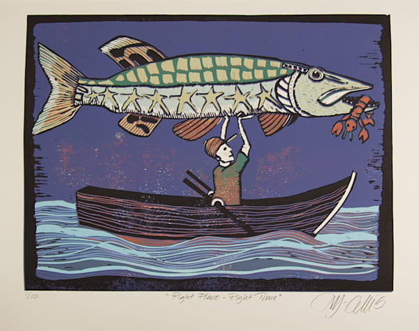 deep sea fishing in the best waters, this is a linocut print about success, that when it all comes together, there is a lobster too, art, paintings, printmaker Mariann Johansen-Ellis