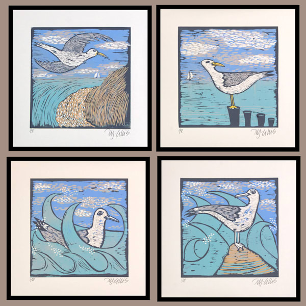a set of seagull limited edition linocut prints in blue and white by printmaker Mariann Johansen-Ellis, art, paintings