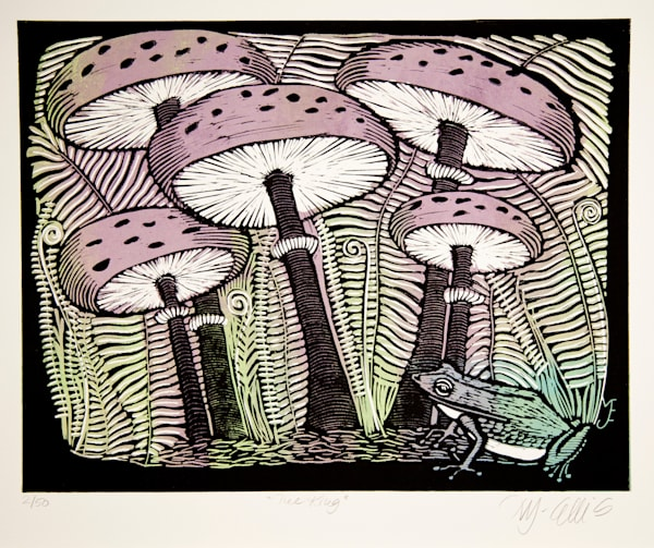 frog and forest floor, mushrooms and greenery, a linocut by printmaker Mariann Johansen-Ellis, art, paintings