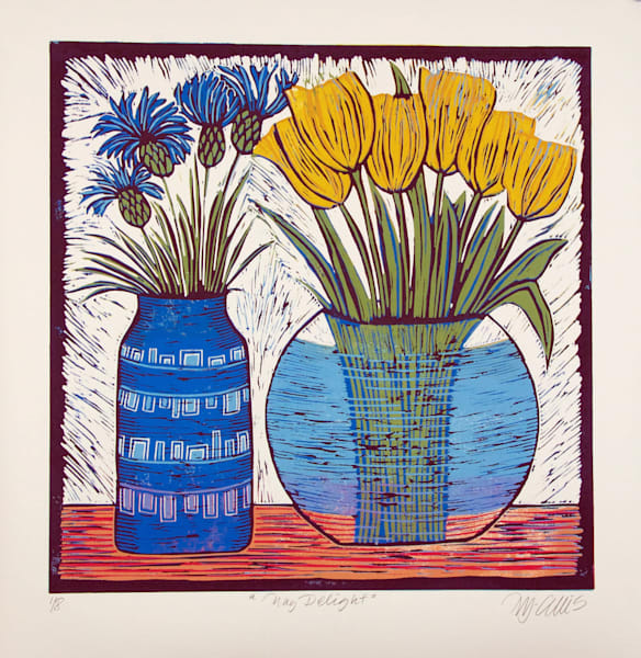 blue cornflowers and yellow tulips in a glass vase in this still life, floral linocut print by Mariann Johansen-Ellis, art, paintings