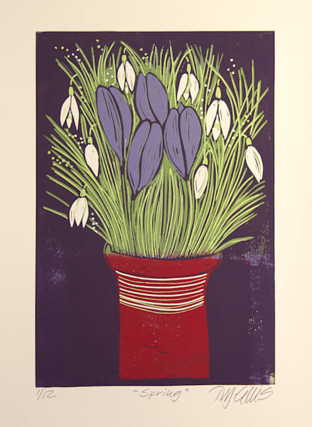 crocus and snowdrops in a still life, linocut reduction print by printmaker Mariann Johansen-Ellis, a limited edition print, art, paintings