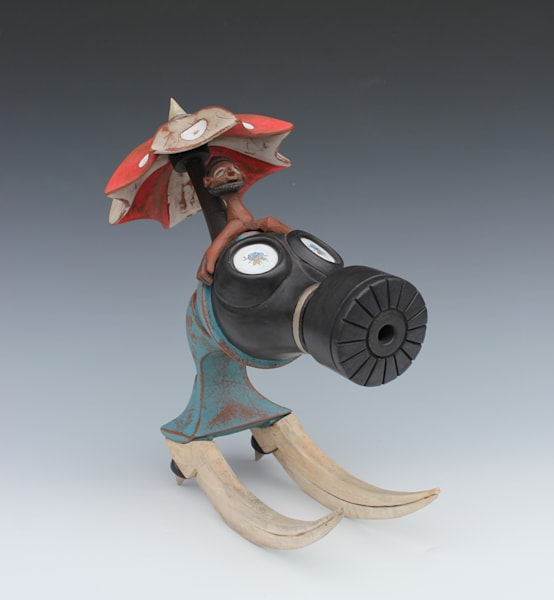 pleasant pirate with flower power and african inspired figure