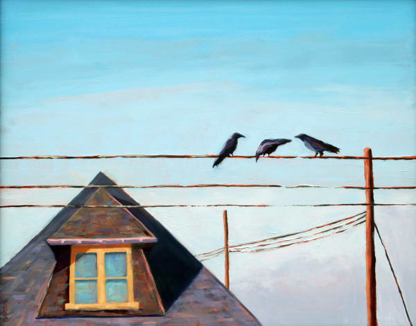 crows, wire, roof top