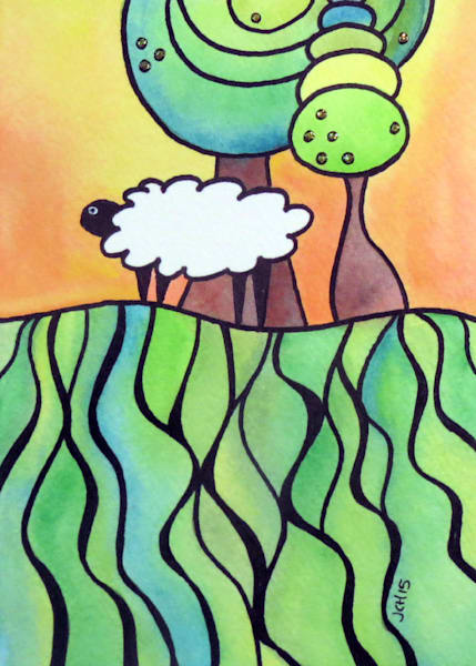 Sheep On A Hill 3 Art For Sale
