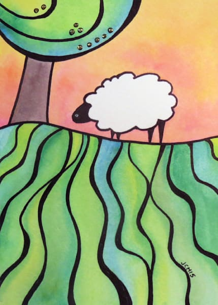 Sheep On A Hill 4 Art For Sale