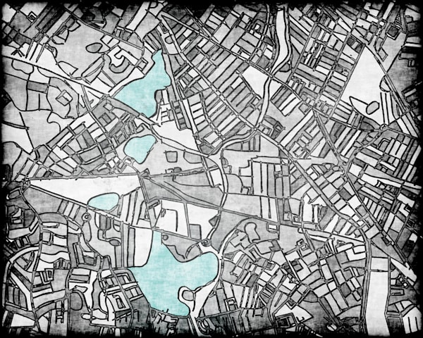 Grey Contemporary Map Art – Abstract Wall Art of NORTH CAMBRIDGE. City Neighborhood Print | Modern City Map | Abstract Office Décor | Modern Map Art