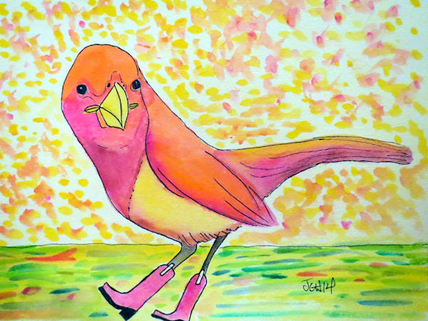 Bird In Boots Watercolor Art For Sale