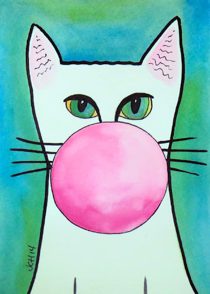 Bubble Gum Cat On Blue Art For Sale