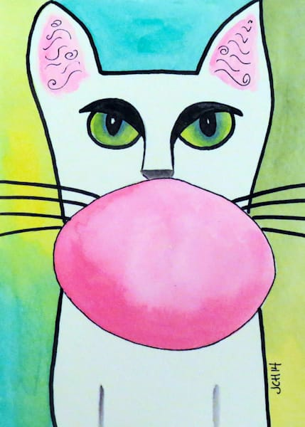 Bubble Gum Cat On Green Art For Sale