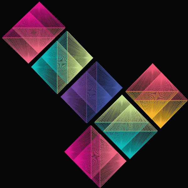 vortex, tetris, op art, wall art, graphic design