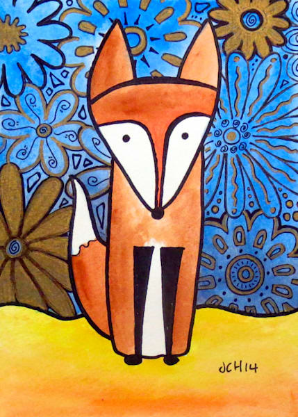 Flower Fox Art For Sale